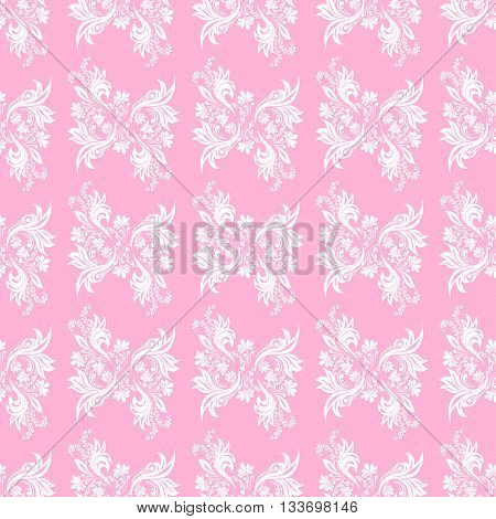 Pink seamless pattern for wall. Wallpaper fabric textile design with mandalas and decorative vintage, trendy color elements.Vector illustration