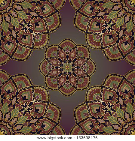 Oriental seamless pattern of mandalas. Vector rich dark background. Template for textile carpet wallpaper shawls.