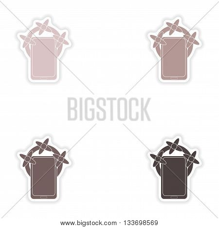 Set of paper stickers on white background  mobile phone