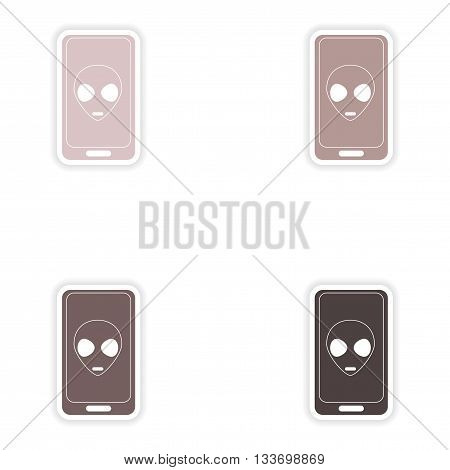 Set of paper stickers on white background  mobile phone alien