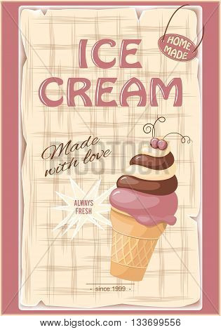 Vector illustration banner with current ice cream in the waffle and chokolate on the vintage background. eps10
