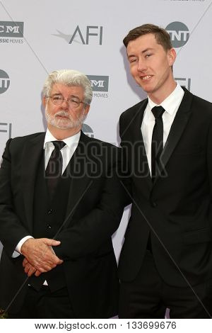 LOS ANGELES - JUN 9:  George Lucas, Jett Lucas at the American Film Institute 44th Life Achievement Award Gala Tribute to John Williams at the Dolby Theater on June 9, 2016 in Los Angeles, CA