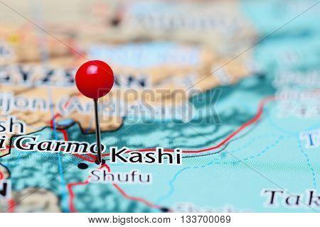 Kashi pinned on a map of China