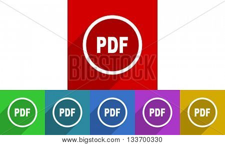 pdf vector icons set, colored square flat design internet buttons