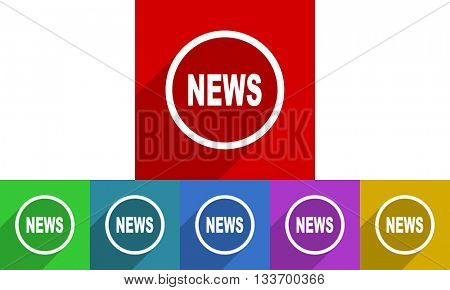 news vector icons set, colored square flat design internet buttons