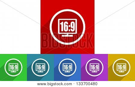 16 9 display vector icons set, colored square flat design internet buttons
