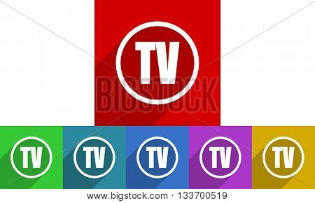 tv vector icons set, colored square flat design internet buttons