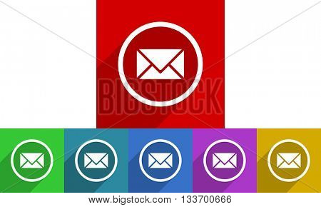 email vector icons set, colored square flat design internet buttons