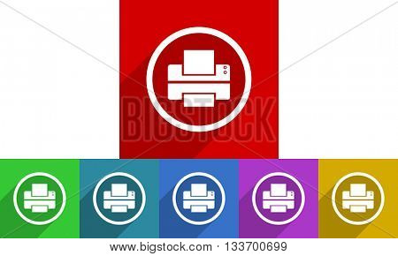 printer vector icons set, colored square flat design internet buttons