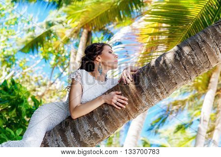 Young beautiful bride in white wedding dress on the palm tree on a tropical beach. Tropical sky in the background. Summer vacation concept.