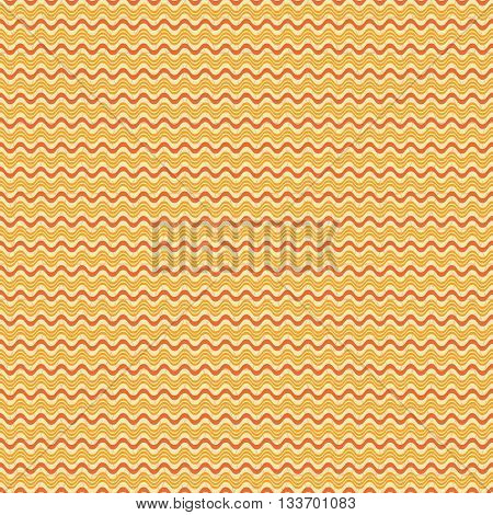 Abstract seamless geometric pattern. Horizontal wavy lines on the background of low contrast cellular ornament. Orange and yellow colors. Vector illustration for fabric, paper and other