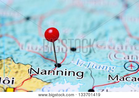 Nanning pinned on a map of China
