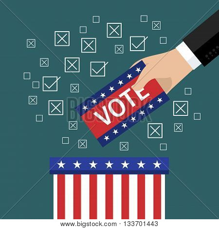 Concept of voting. Hand putting voting paper in the ballot box. Flat design, vector illustration.