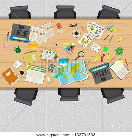 Office table with business stuff, top view. Concept of creative teamwork or startup. Flat design, vector illustration