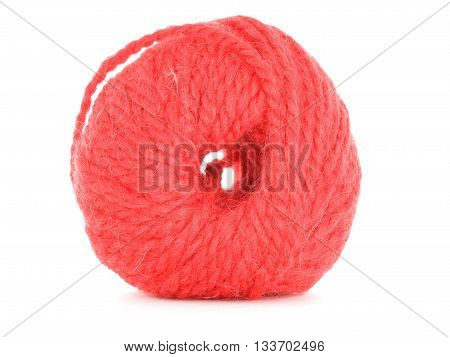 Clew of thread red skein isolated on white background