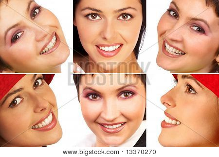 Happy beautiful woman smiles