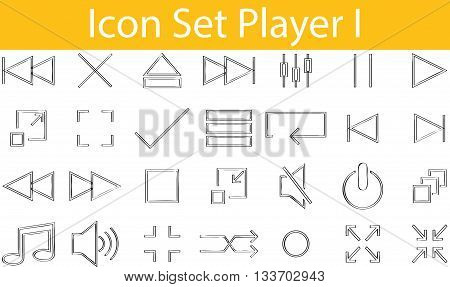 Drawn Doodle Lined Icon Set Player I