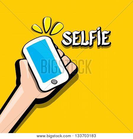 Taking Selfie Photo on Smart Phone creative concept image. vector selfie sign isolated on orange. Summer selfie photo. Selfie cartoon text