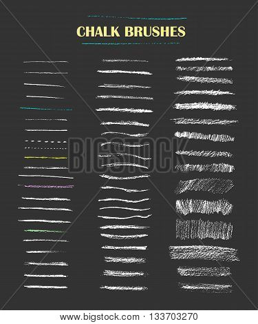 Set of vector grungy chalk art brushes. Chalk textures fine lines rough strokes hatching. Easy edit color and apply to any path write and draw.
