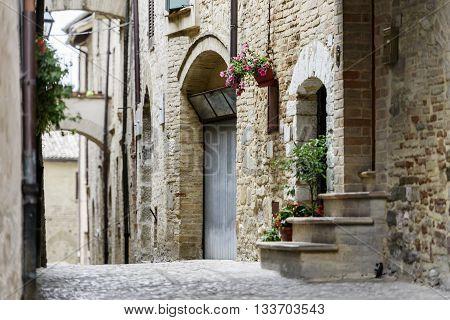 Image of narrow street in Montefalco Italy Umbria