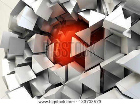 Abstract 3d rendering with chaotic structure. Sci-fi background.