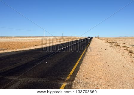 A newly tarred road in the Namib desert Namibia Africa