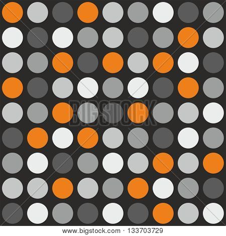 Tile vector pattern with grey, white and orange polka dots on grey background