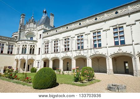 Castle courtyard Breze, Loire Valley, France. Built between the 11th and 19th centuries, it houses an extraordinary subterranean complex, a castle in a castle.