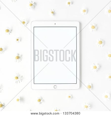 Tablet and chamomile buds on white background. Top view flat lay