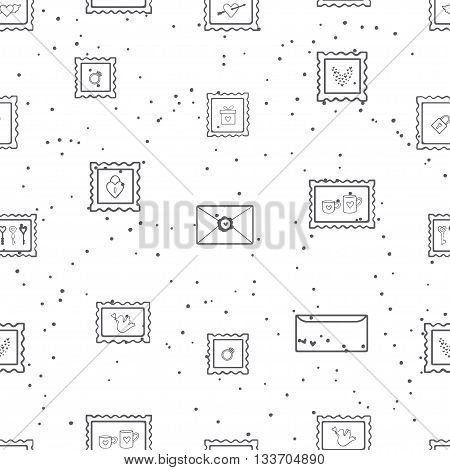 Vector illustration of seamless pattern. Doodle post stamp with cute elements. Love seamless background for invitation, card or packing. Hand drawn. Isolated on white background.