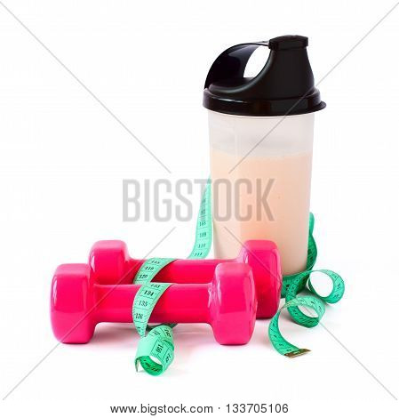 fitness equipment and healthy food close up isolated on white background