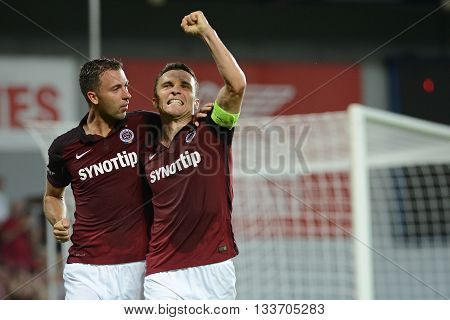PRAGUE 10/AUG/2015 : David Lafata celebrates his goal with Josef Husbauer. 3.round of Czech soccer League between AC Sparta Praha and FC Fastav Zlín.