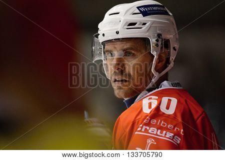 PARDUBICE 22/08/2015 _ Tomas Rolinek (Pardubice). Match of Hockey Champions league between HC Pardubice and HC Davos.