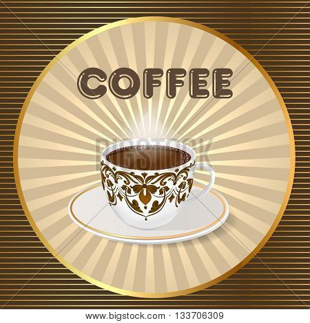 Illustration of vector background with a fresh Cup of aromatic coffee