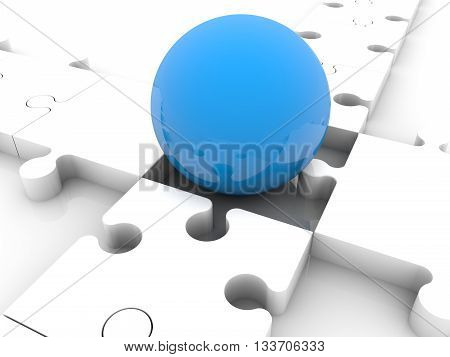 Blue ball on puzzle crossroad . 3D illustration .