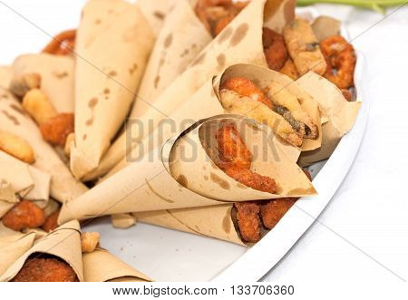 Cones With Italian Mixed Fried