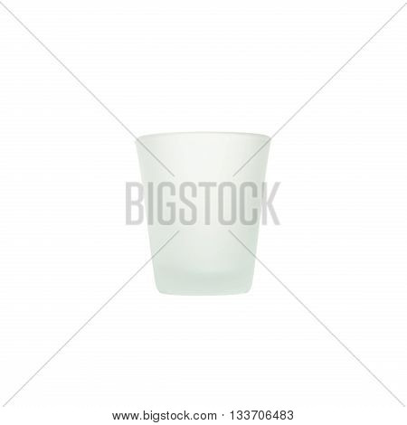 Closeup beautiful empty opaque glass of water isolated on white background with clipping path