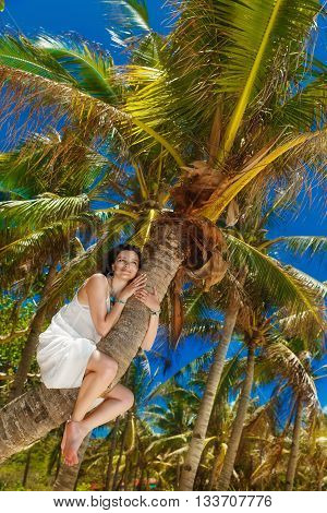 Young beautiful bride on the palm tree on a tropical beach. Tropical sky in the background. Summer vacation concept.
