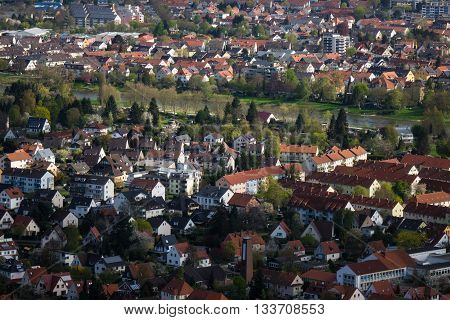 City Hamelin from aerial viewpoint Germany .