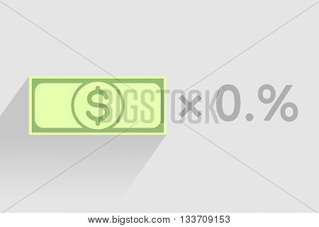 Stack of green banknotes with dollar sign as element of monetary financial business-formula. Tax percentage profit interest and other economic indicators