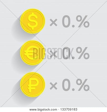 Stacks of gold coins with dollar, euro and ruble signs respectively as elements of financial business-formulas. Tax percentage profit interest and other economic indicators