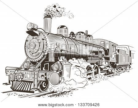 Old steam locomotive. Vector illustration, vintage style