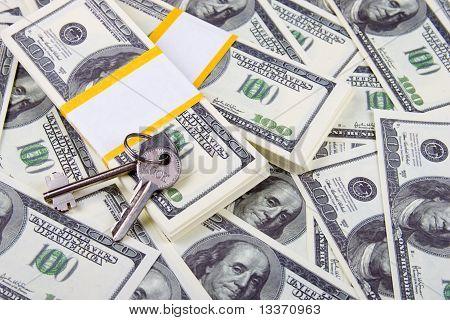 Keys Of One Hundred Dollar Bills Background