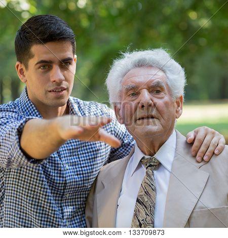 Senior Grandfather And Grandson