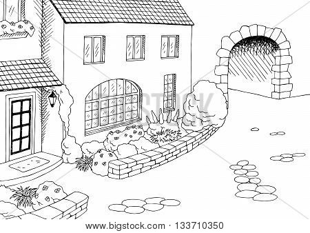 Town old house yard graphic art black white illustration vector