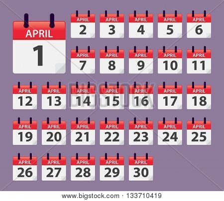 Vector stock of April Daily Calendar template icon collections