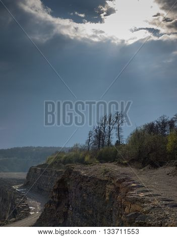 The landscape in a quarry in sunlight