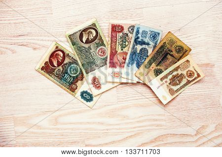 Hai, Ukraine - Circa May,2016: Set Of Bill Ussr Roubles Money On Wooden Background