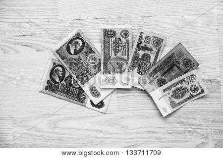 Hai, Ukraine - Circa May,2016: Set Of Bill Ussr Roubles Money On Wooden Background. Black And White