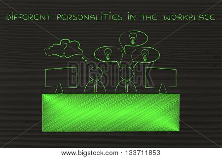 Worker With Plenty Of Ideas And Doubtful One, Different Personalities